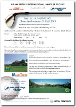 Air Mauritius International Amateur Trophy poster 2003